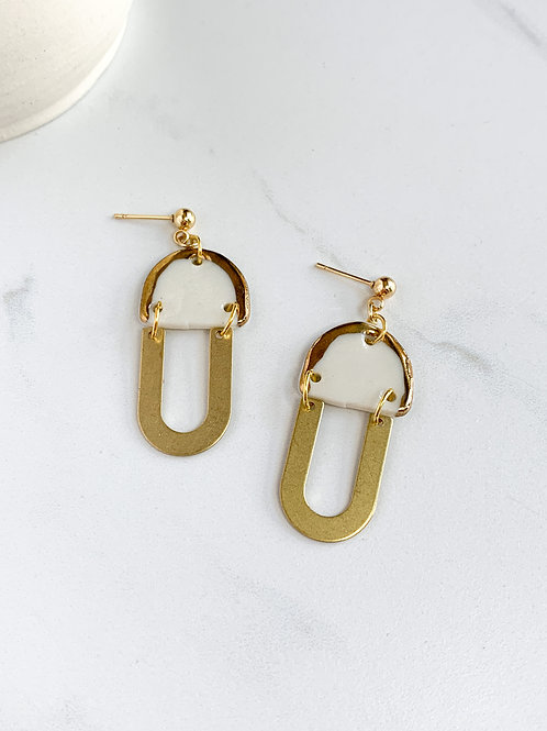 White and Gold Half-moon Dangle Earrings with Gold Arches