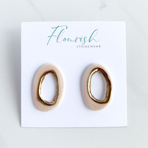 Open Abstract Oval Studs in Pale Pink and Gold