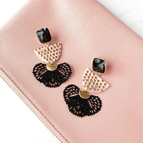 Black and Pale Pink Statement Earrings with Gold Dots