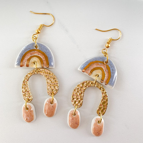 Lavender, Blush and Gold Arch Statement Earrings