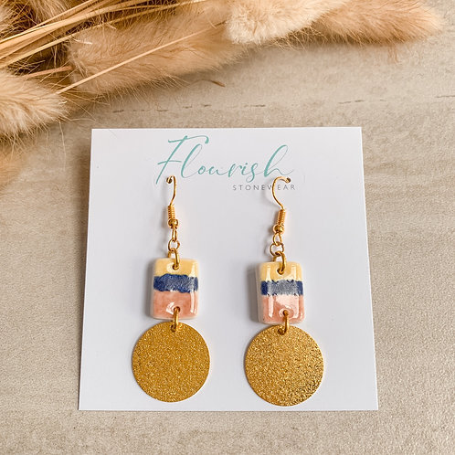Yellow, denim blue and blush with gold circles