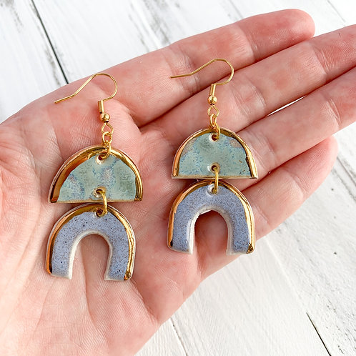 Sky Blue and Lavender Arch Dangle Earrings with Gold