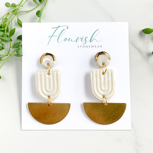 White and Gold Arch Dangle Earrings with Gold Halfmoons