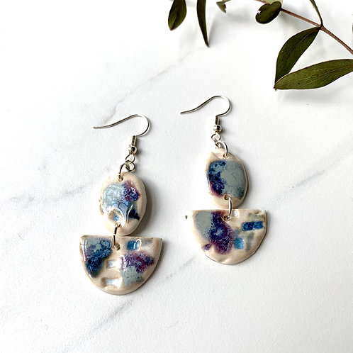 Blues and purples 2-pc dangle earrings