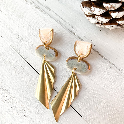 Blush Pink and Blue-Grey Earrings with Gold