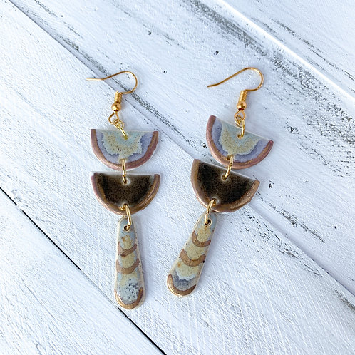 Blue-Grey and Charcoal Grey Dangles with Gold