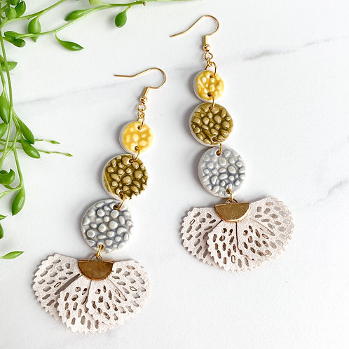 Curry, Olive Green and Grey Circle Earrings with Tassels