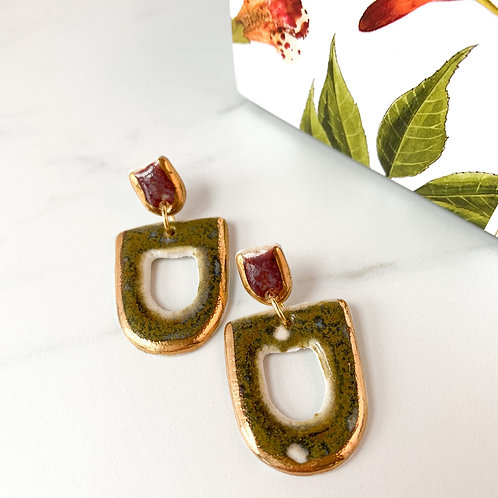 Olive Green and Wine Geometric Earrings with Gold