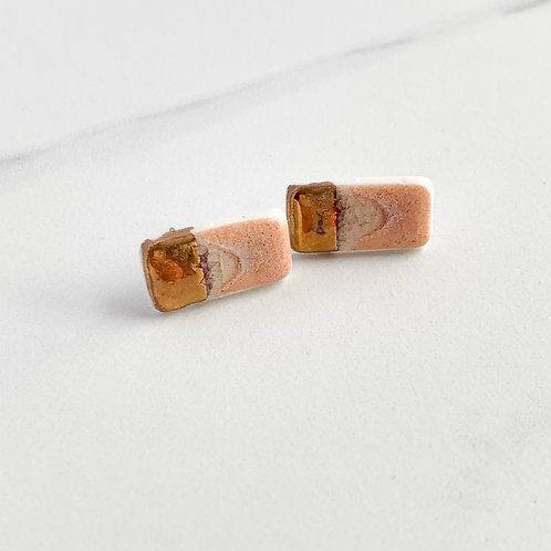 Blush Pink Rectangle Studs in Gold