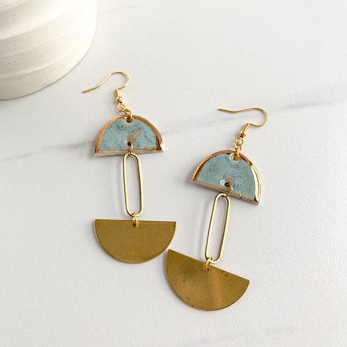 Blue-Grey Halfmoons with Brass Halfmoon Dangles in Gold