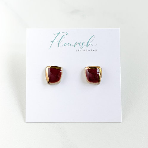 Red Wine Abstract Square Stud Earrings