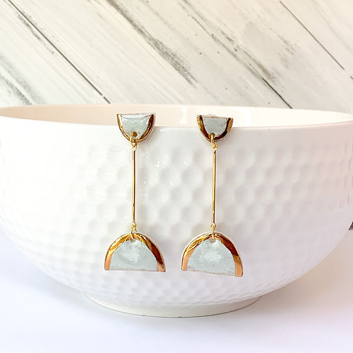 White half moons with gold lustre