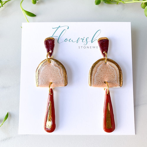 Wine, Burnt Orange and Blush Pink and Gold Dangle Earrings