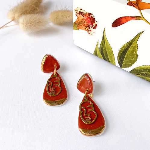 Burnt Orange and Gold Dangle Earrings with Abstract Faces