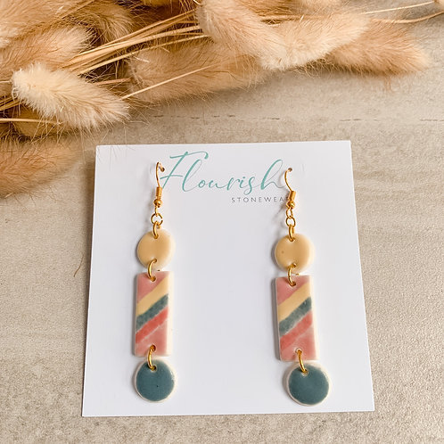 Teal, blush, watermelon and yellow dangles