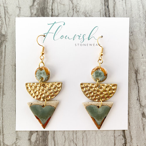 Sage Circle and Triangle Earrings with Hammered Gold Halfmoons