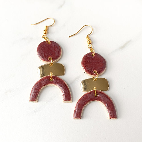 Wine Circles and Arch Earrings in Gold