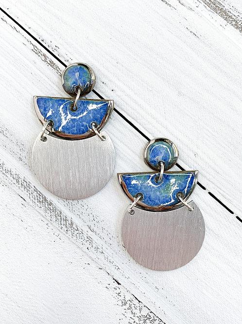 Periwinkle Geometric Dangle Earrings in Silver