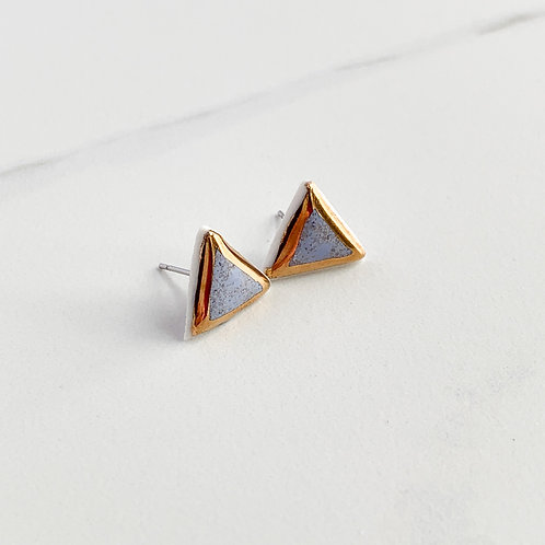 Lavender Triangle Studs with Gold