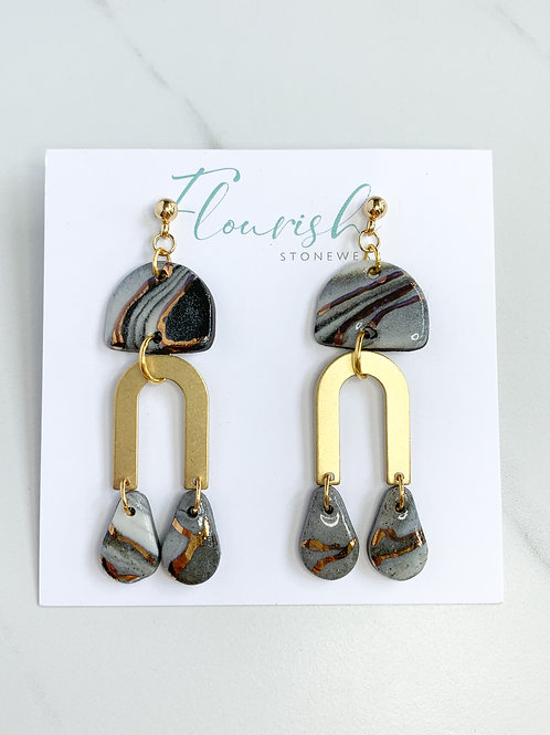 Marbled Halfmoons & Teardrop Earrings with Gold Arch
