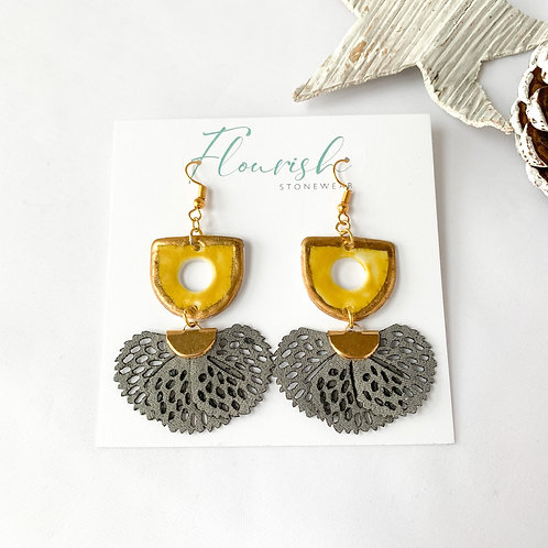 Curry Yellow and Gold Earrings with Grey Tassel