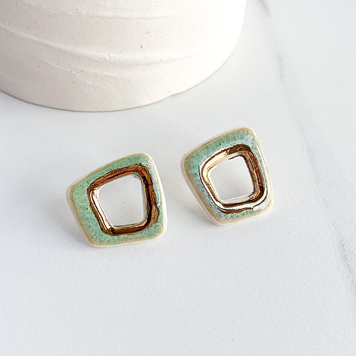 Open Abstract Square Studs in Mint Green and Gold