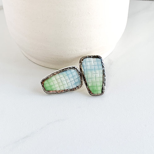 Blue Ombre Textured Studs