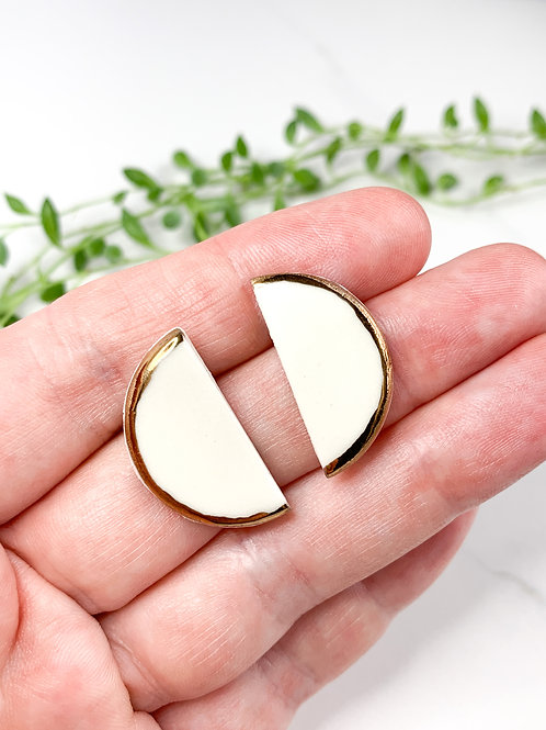 White and Gold Halfmoon Earrings
