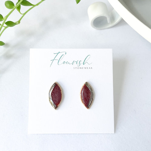 Wine and Silver Oblong Studs