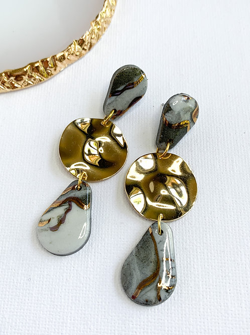 Marbled Teardrop Dangles with Rippled Gold Circles