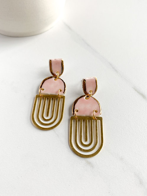 Pale Pink Arch Earrings with Gold Arch Dangles