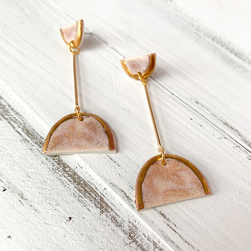 Blush and Gold Arch Dangle Earrings