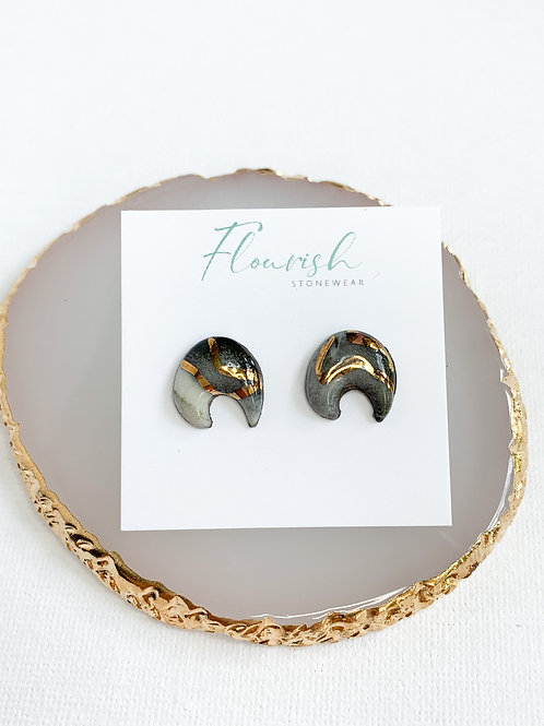 Marbled Moon-Shaped Studs