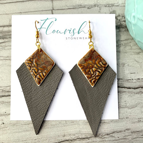 Textured rusty brown diamond-shapes with charcoal leather