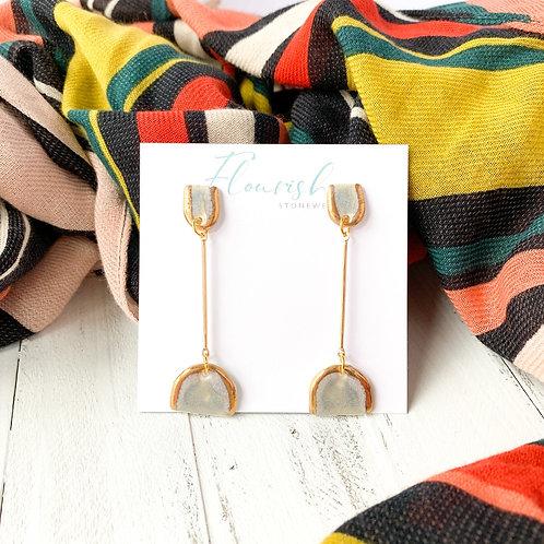 Grey-Blue Arch Earrings in Gold