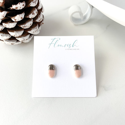 Pale Pink Oval Studs with Silver