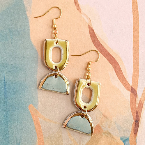 Sunflower Yellow Cut-outs and Blue-Grey Half-moons Dangle Earrings in Gold