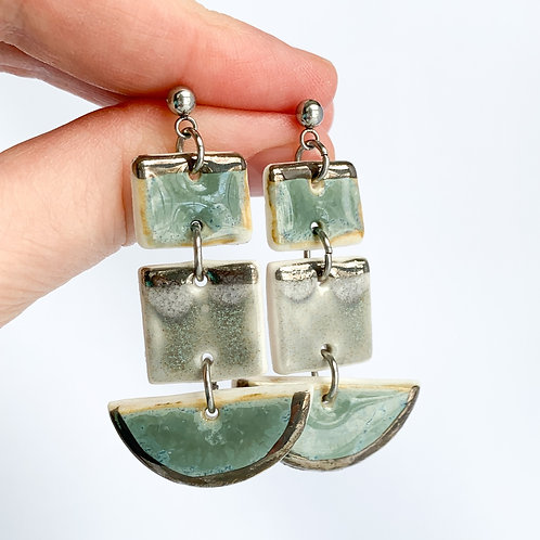 Blue-grey and Grey Square and Halfmoon Earrings in Silver