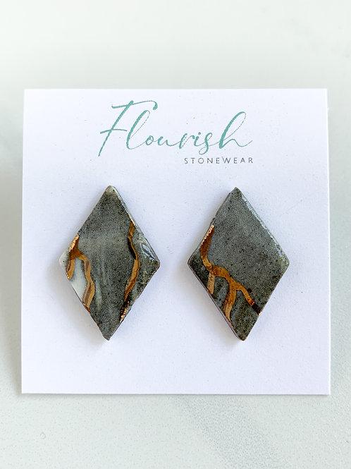 Marbled Diamond-Shaped Studs