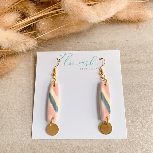 Watermelon, teal and yellow with gold delicate dangles