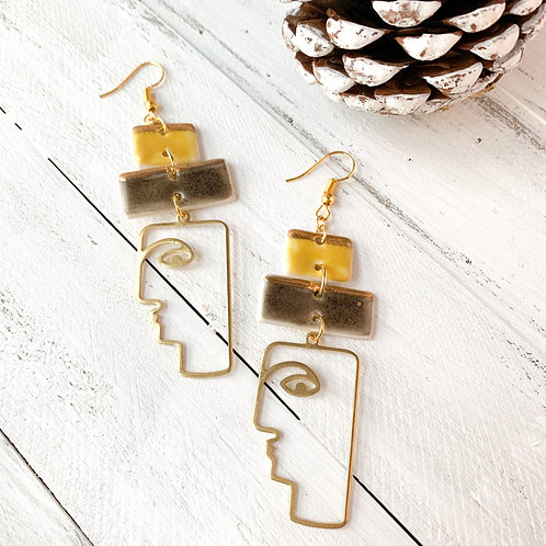 Curry Yellow and Charcoal Grey Earrings with Gold Abstract Faces