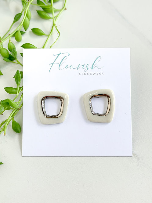 White Abstract Square Studs in Silver