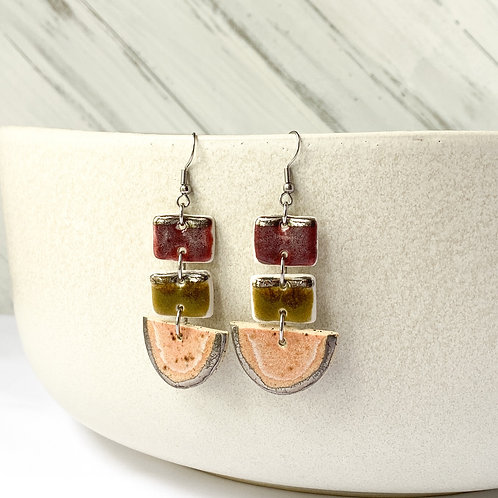 Wine, Olive and Blush Pink Dangles in Silver