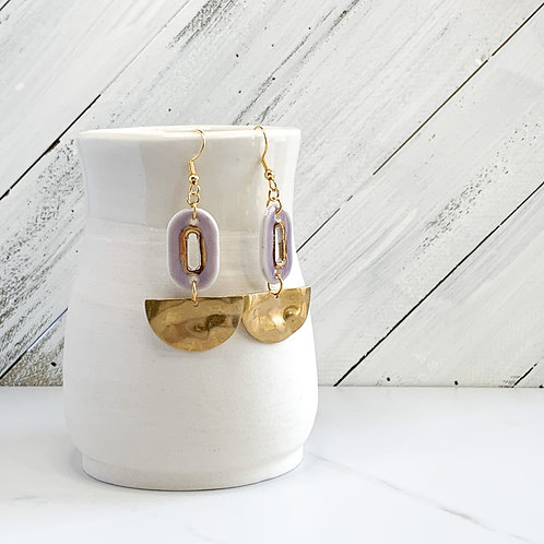 Lavender Ovals and Gold Halfmoon Dangle Earrings