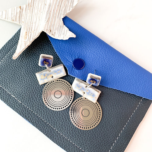 Navy Blue and Blue-Grey Earrings in Silver with Circles