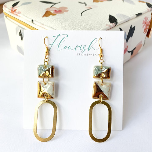 Blue-Grey and White with Gold Dangles