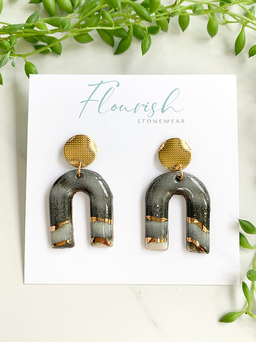 Marbled Arches with Gold Circles Earrings