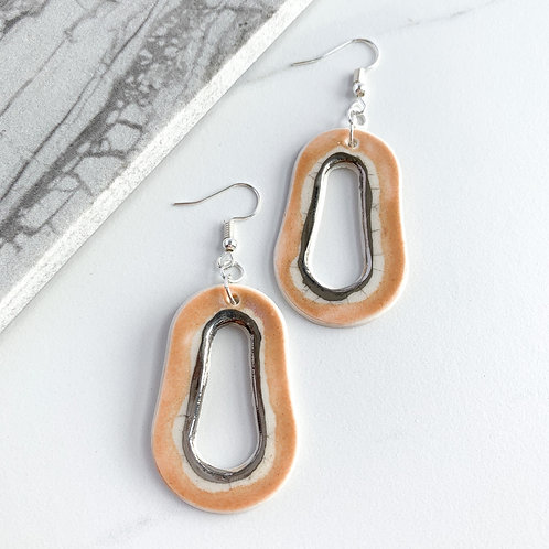 Blush Pink Abstract Oval Dangle Earring