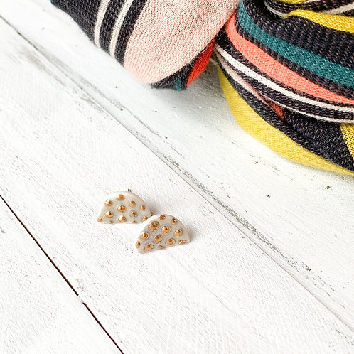 Pale Blue Halfmoon Studs with Gold Dots