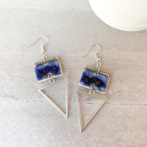 Navy blue and silver geometric dangles